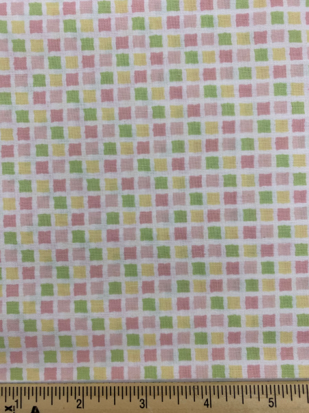Squares Pink, Yellow and Green Quilting Fabric by Sam McBratney from Guess How Much I Love You for Clothworks