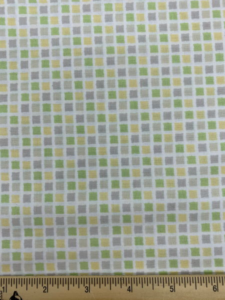 Squares Taupe, Yellow and Green Quilting Fabric by Sam McBratney from Guess How Much I Love You for Clothworks