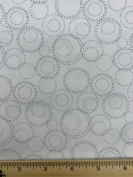 Stitched Circles on White Quilting Fabric by Deane Christiansen from Shades of Grey for Sweet Bee Designs