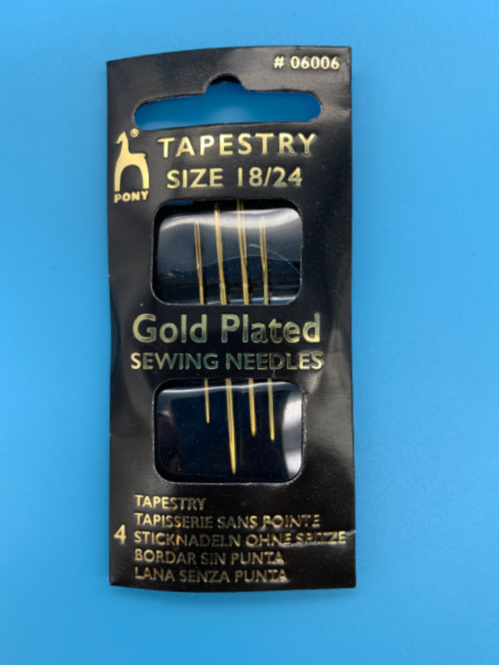Tapestry Gold Plated Needles size 18/24 from Pony