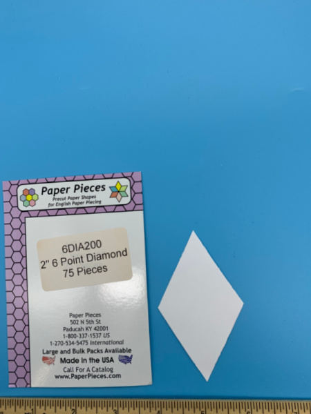 Two Inch 6 Point Diamond Precut Paper Shapes for English Paper Piecing