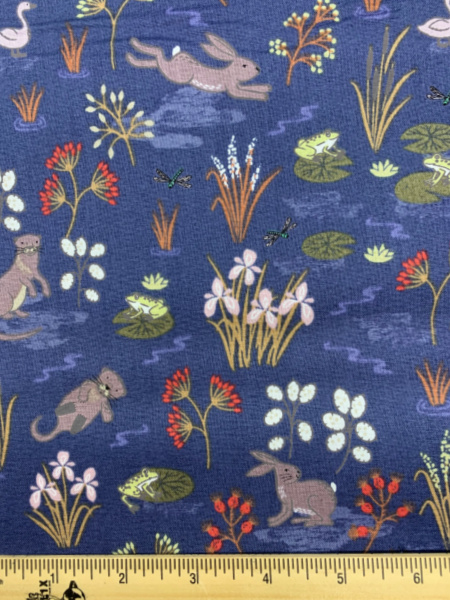 Water Meadow In Blue Quilting Fabric By Lewis And Irene