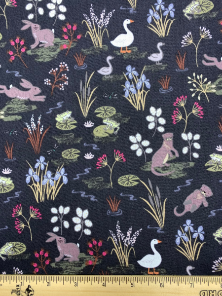 Water Meadow In Black Quilting Fabric By Lewis And Irene