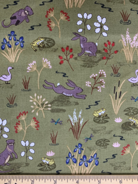 Green Water Meadow Quilting Fabric by Lewis and Irene
