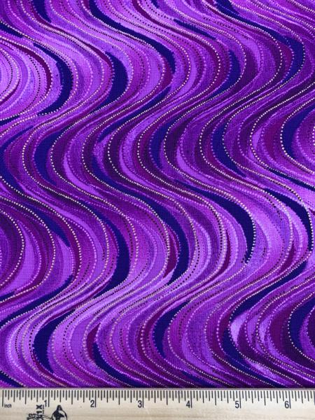Breezy Wave Purple Quilting Fabric from Pansy Noir by Greta Lynn for Kanvas Studio Benartex