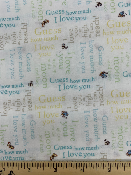 Words in Blue Cotton Quilting Fabric By Sam McBratney From Guess How Much I Love You For Clothworks