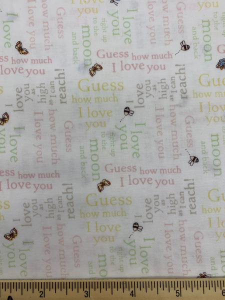 Words in Pink Cotton Quilting Fabric By Sam McBratney From Guess How Much I Love You For Clothworks