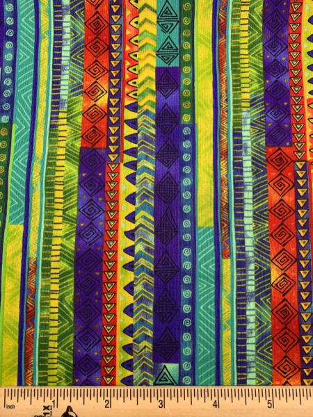 Celestial Magic Green Stripe Quilting Fabric by Laurel Burch for Clothworks