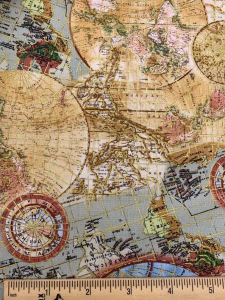Globe Metalic Quilting Fabric by Timeless Treasures