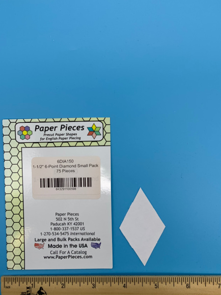 One and a Half Inch 6 Point Diamond Precut Paper Shapes for English Paper Piecing