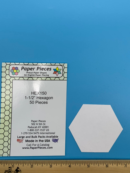 One and a Half Inch Hexagon Precut Paper Shapes for English Paper Piecing