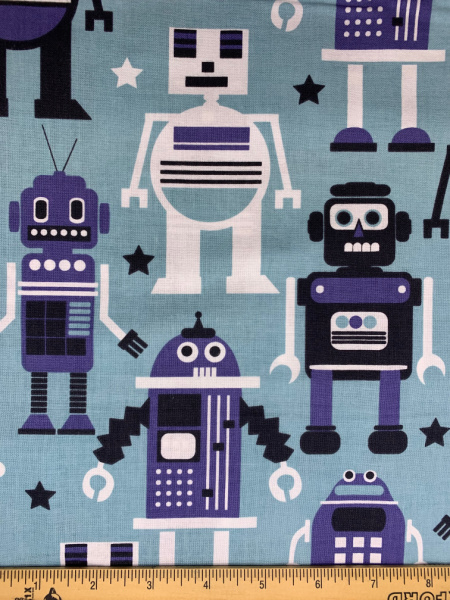 Robots Blue from Planet Buzz by Blend Fabrics