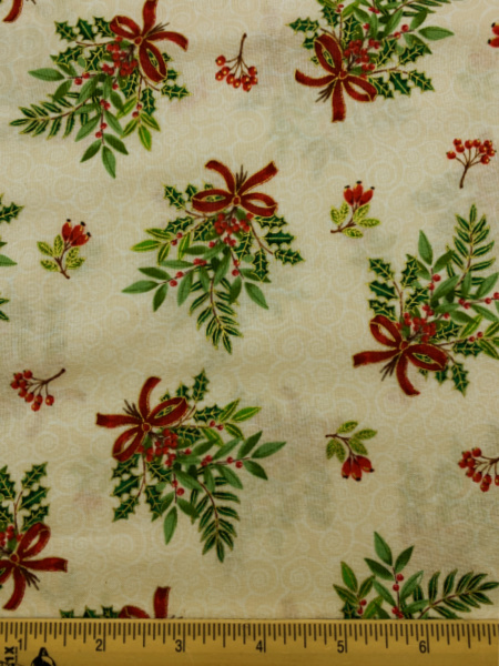 Bouquet on Cream quilting fabric From Classic Foliage For Makower