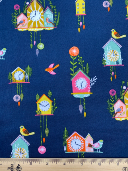 Cuckoo Clocks on Navy Quiting Fabric from Dashwood's Ckoo's Calling