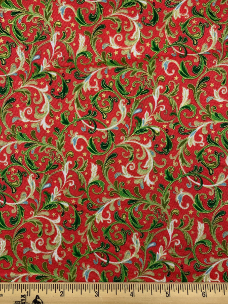 Decorative Scroll In Red quilting fabric From Classic Foliage For Makower