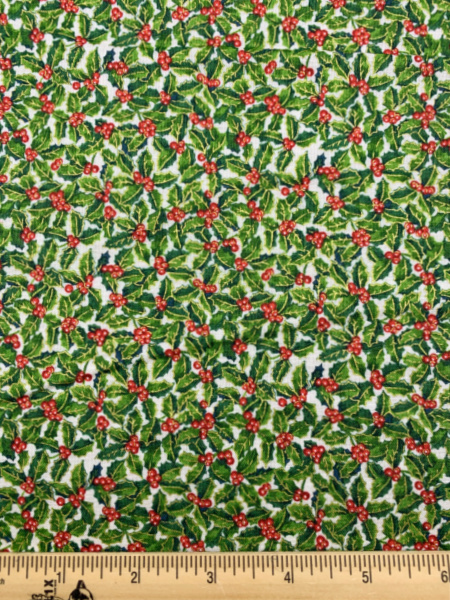 Holly on Cream quilting fabric From Classic Foliage For Makower
