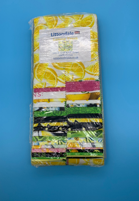 Lemon Fresh pre cut two and a half inch quilting fabric strips for Littondale