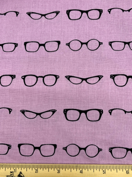 Glasses On Lilac Quilting Fabric from Geeky Chic For Riley Blake