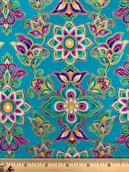 Paisley Moon Turquoise Quilting Fabric by Michael Miller