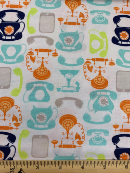 Telephones on White quilting fabric
