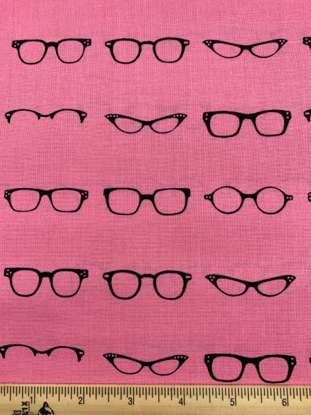 Glasses On Pink Quilting Fabric from Geeky Chic For Riley Blake