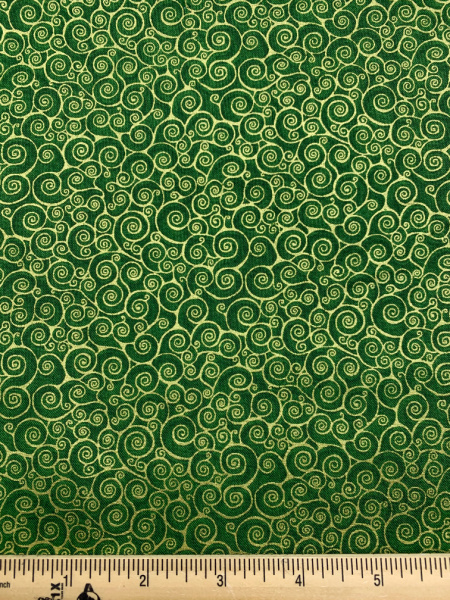 Rhapsody Scroll Quilting Fabric in Green and gold metalic from Makower UK