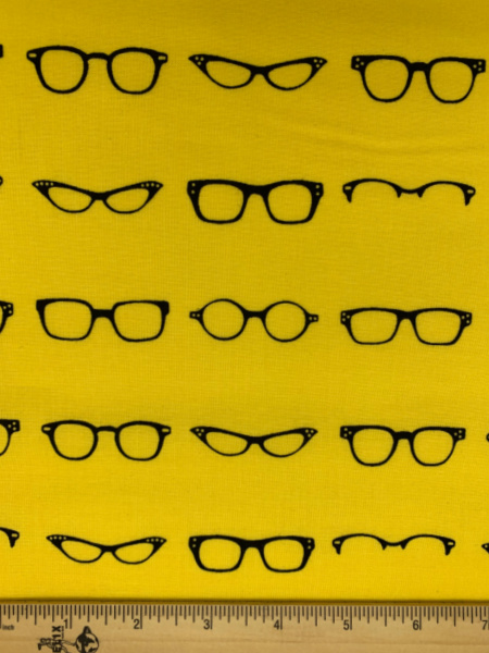 Glasses on Yellow Quilting Fabric from Geeky Chic for Riley Blake