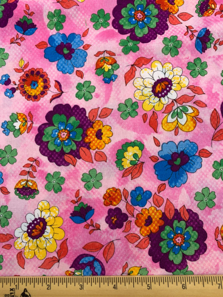 Floral on Pink Quilting Fabric Clearance