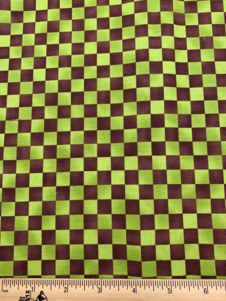 Green and Brown Checkerboard Quilting Fabric Clearance