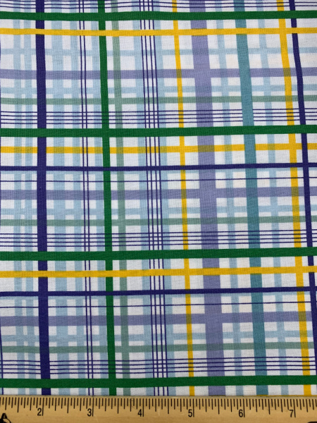 Green and Yellow Check Quilting Fabric from Planet Buzz for Blend Fabrics