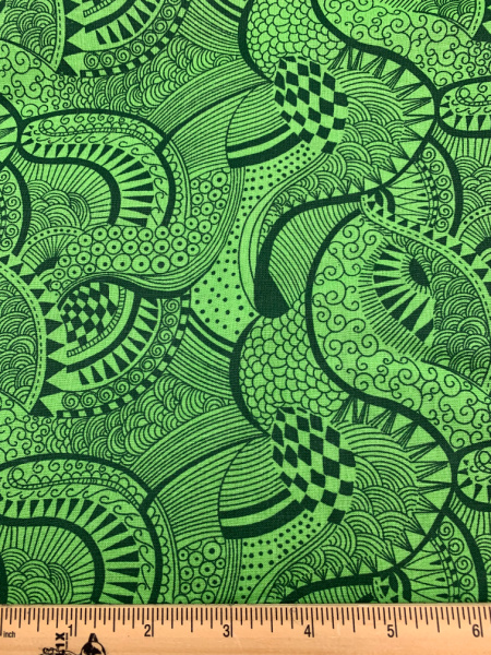 Green Zentangle Print Quilting Fabric Clearance