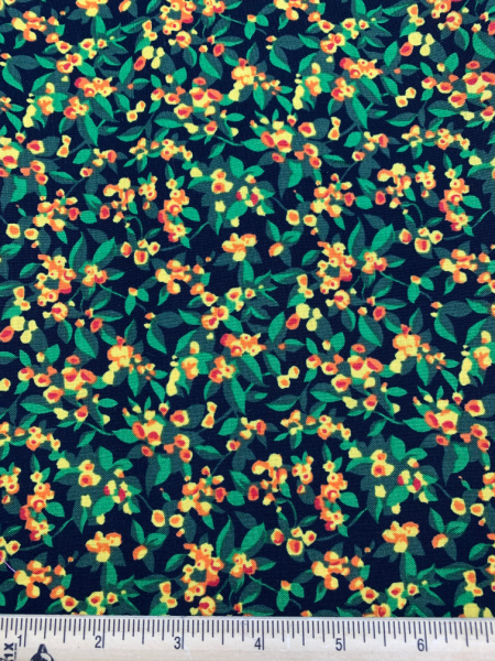 Ditsy Floral and Leaf Print on Black Quilting Fabric Clearance