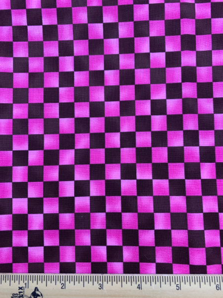 Pink and Brown Checkerboard Quilting Fabric Clearance