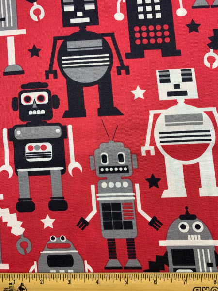 Robots Red Quilting Fabric From Planet Buzz By Blend Fabrics