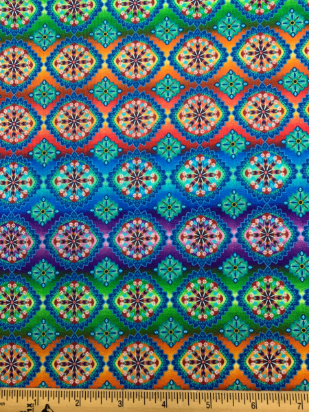 Indio Blooming Paisley Rainbow Ombre Stripe Quilting Fabric from Studio e