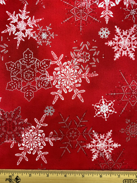 Winter wonderland red quilting fabric