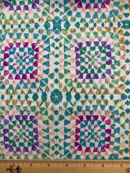 Green Crochet Granny Squares quilting fabric