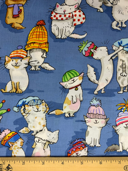 Cats in hats quilting fabric
