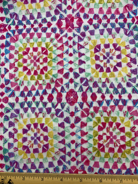 Pink Crochet Granny Squares quilting fabric